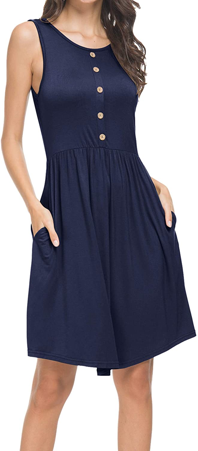 levaca Women's Summer Casual Loose Swing T-Shirt Dress with Pockets