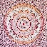 MOMOMUS Tapiz Mandala Sol - 100% Algodón, Grande, Multiuso - Telas para Decoración de Pared - Rojo y Naranja