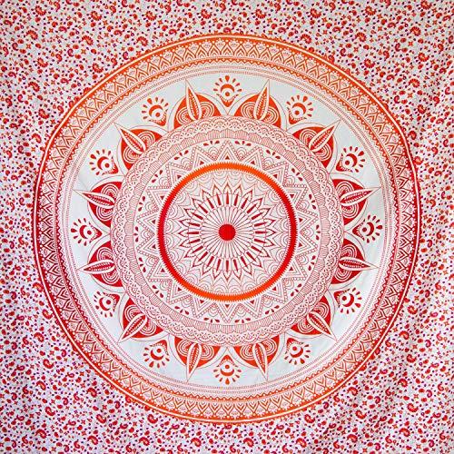 MOMOMUS Arazzo Mandala - Sole - 100% Cotone, Grande, Multiuso - Decorativo da Muro - Telo da Parete XXL, Rosso e Arancio