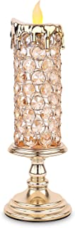 Manvi LED Crystal Lighted Candle Holders, Modern Flameless Table Candle Lamps Tall Candlesticks, Centerpieces for Wedding/Dining/Window/Kitchen/Living Room Wall Decor(Gold)