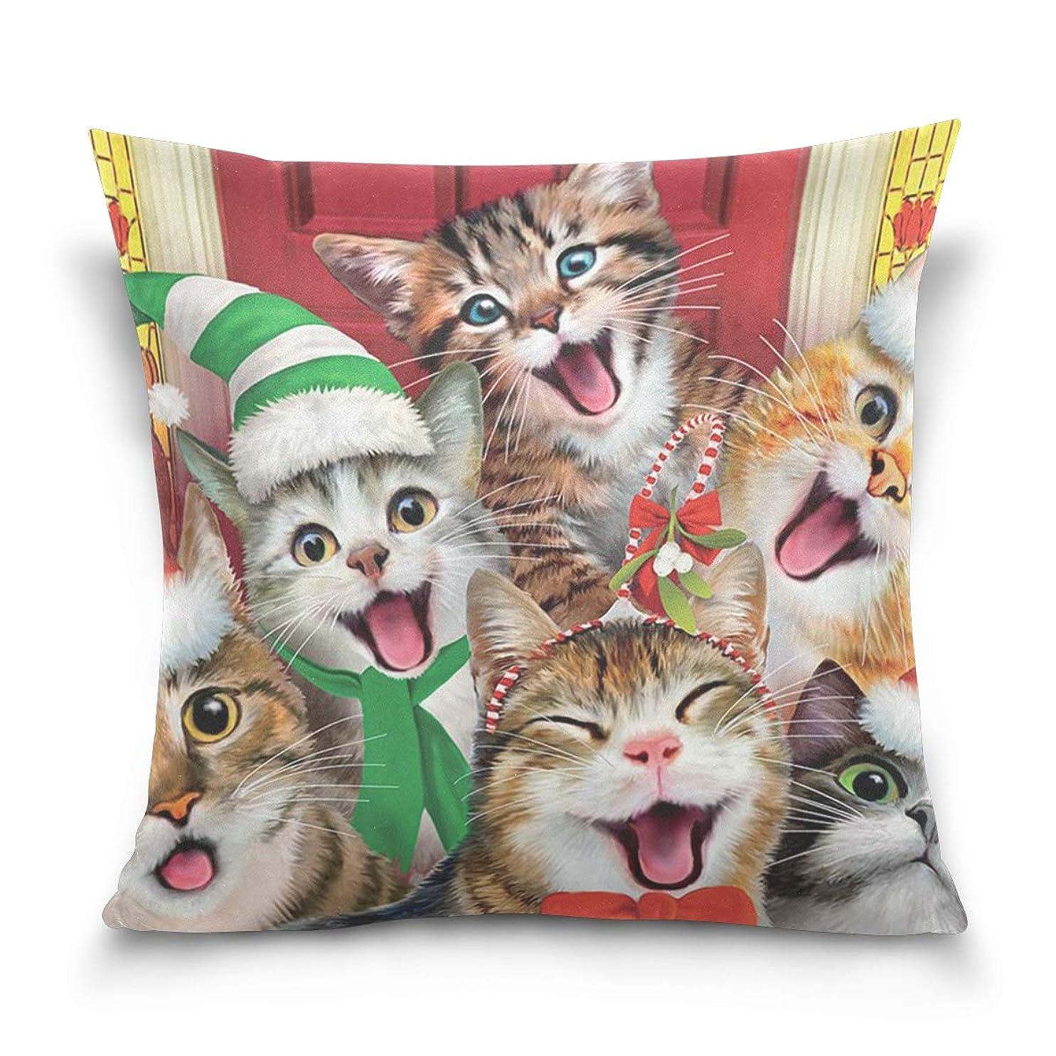 埋める不潔ペアクッションカバー 枕カバー クリスマスキャット 猫 角型 まくらカバー インテリア飾り 部屋 ソファー オフィス 車用 45x45cm