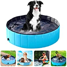 Winkeyes PVC Pet Dog PoolPet Dog SwimmingPool Portable Foldable Pool Dogs Cats Bathing Tub Collapsible Non-Slip Puppy Ba...