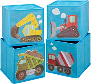 Ava & Kings Toddler Cube Storage Bins Shelf Fabric Drawers Container - Kids' Light Blue Construction Theme Toy Box Truck Organizer for Boys Girls - Fits 11x11 to 13x13 Cubical Shelves - Set of 4
