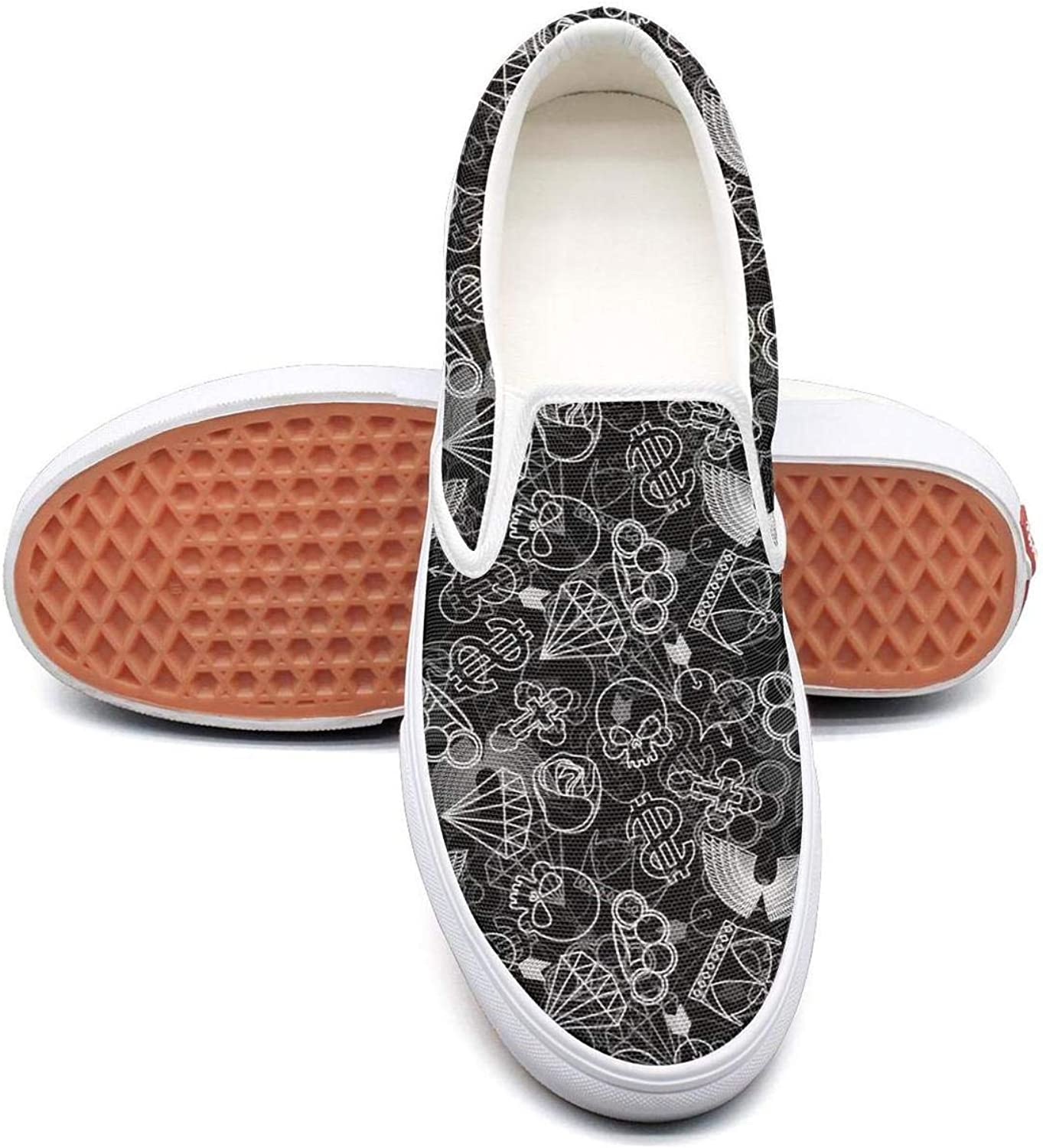 Skull and Brass Knuckles Slip On Rubber Sole Loafers Canvas shoes for Women Fashion