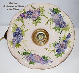 Lampadario diametro 30 centimetri Linea Frutti Uva Ceramica Le Ceramiche del Castello Pezzo Unico Handmade Made in Italy