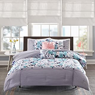 Intelligent Design Delle Comforter Set Twin/Twin Xl Size - Blue , Floral Stripes – 4 Piece Bed Sets – Ultra Soft Microfiber Teen Bedding For Girls Bedroom