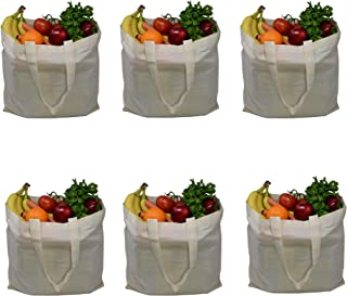 ZBasics Reusable Canvas Tote Bag - Biodegradable Cotton Shopping Bags for Grocery, Farmers Market, Produce Storage - Blank Design for Personalized Art - Zero Waste Alternative to Plastic (Pack of 6)