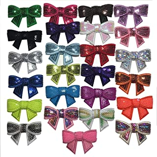 Yazon 26pcs 2inch Embroidery Sequin Bows DIY Glitter Hair Bows Without Clips for Headbands Clothing Shoes Dress