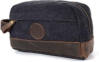 CozyCabin Vintage Leather Canvas Travel Toiletry Bag Shaving Dopp Kit, Retro Makeup Organizer Case (Black)
