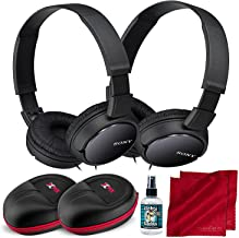 Sony MDRZX110AP ZX Series Extra Bass Smartphone 2-Pack Black Headset with Mic (2 Headsets) and Xpix Protective Case Bundle