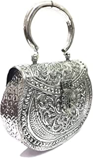 Trend Overseas Women's Brass Metal Vintage Handmade Hand Clutch Purse (Silver)