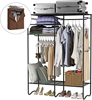 LANGRIA Extra-Large Heavy-Duty Zip Up Closet Shoe Organizer with Detachable Brown Cloth Cover Wardrobe Metal Storage Clothes Rack Armoire with 4 Shelves and 2 Hanging Rods Max Load 463 lbs.