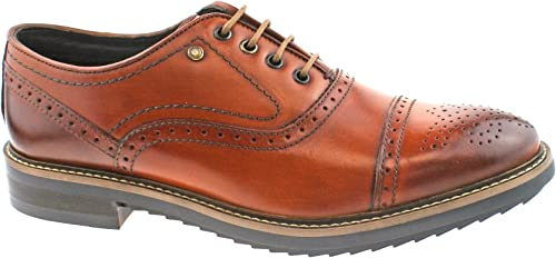 Pour des hommes BASE HARDY WASHED TAN LEATHER OXFORD BROGUE LACE UP OFFICE FORMAL chaussures -UK 7 (EU 41)