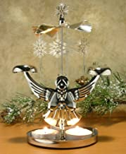 BANBERRY DESIGNS Angel Chimes Candle Spinner - Snowflakes and Angel Candle Holder - Scandinavian Angel Style Christmas Candle Holder