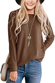 TECREW Women's Waffle Knit Pullover Sweaters Long Sleeve Casual Crew Neck Jumper Tops
