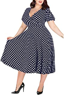 Youmymine Women's Short-Sleeved Dress Summer Casual Plus Size V-Neck Polka Dot Printed Belt Evening Party Midi Dress