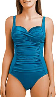 Women's One Piece Swimsuits Vintage Folds Push up Bathing Suits Tummy Control Tank Suit