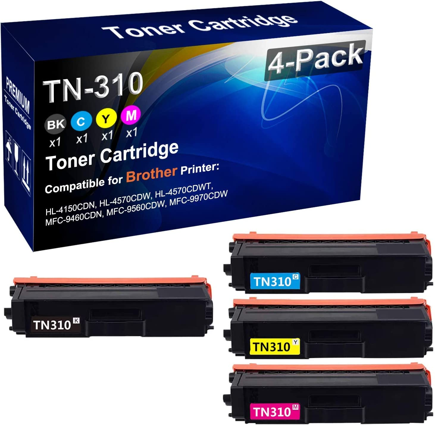 4-Pack BK+C+Y+M Compatible Color SALENEW very popular Yield High Cartridge Max 73% OFF Toner