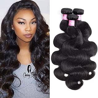 Jaja Hair 8A Brazilian Virgin Hair Body Wave 3 Bundles 100% Unprocessed Brazilian Remy Human Hair Weave Bundles Body Wavy Virgin Hair Natural Black Color 18 20 22 Inches