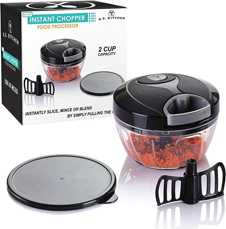 U S Kitchen Supply Mini Instant Chopper Food Processor With Chopping Mixing Blades Slice Mince Chop Or Blend Vegetables Fruit Nuts Herbs Onions And Salsas