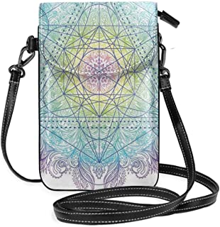 Women Small Cell Phone Purse Crossbody,Mandala Round With Sacred Geometry Element Metatron Cube Archaic Alchemy Theme