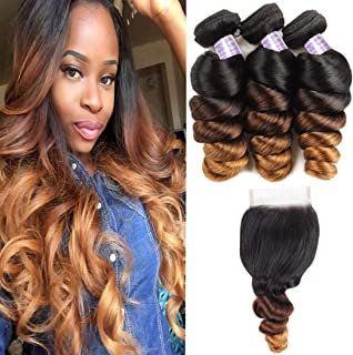Allove Hair Brazilian Loose Wave Ombre Bundles With Closure (16 18 20+14inch) 3 Bundles with 4X4 Lace Closure Free Part Virgin Remy Hair 10a 3 Tone 1B/4/27 Ombre Weave Human Hair
