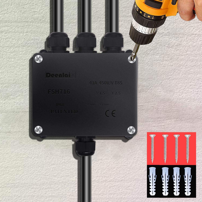 3 voies Bo/îte de jonction /électrique /étanche pour lext/érieur 1PC-Blanc Bo/îte de jonction /étanche 14 mm Raccord externe en plastique noir C/âble /étanche IP68 /Ø 4 mm