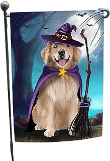 Happy Halloween Trick or Treat Golden Retriever Dog Witch Garden Flag