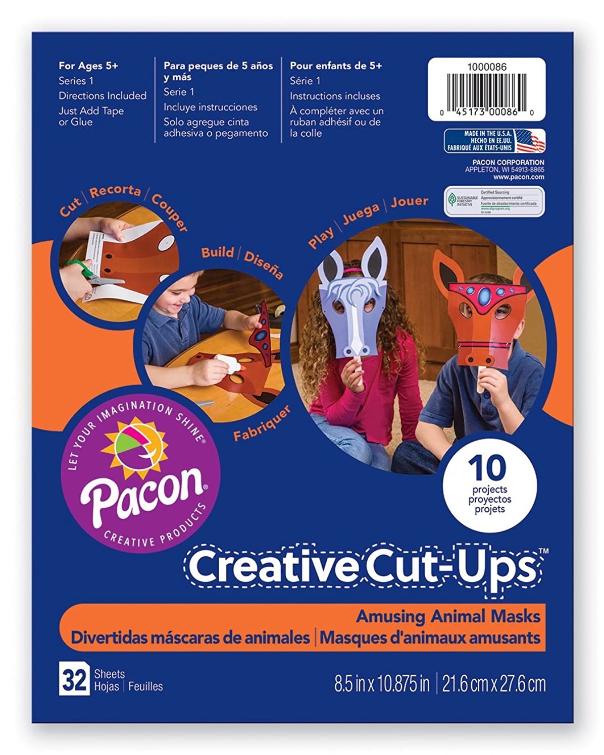 Pacon Creative Cut-Ups Awesome Animal Masks Activity Pad, 10 Projects