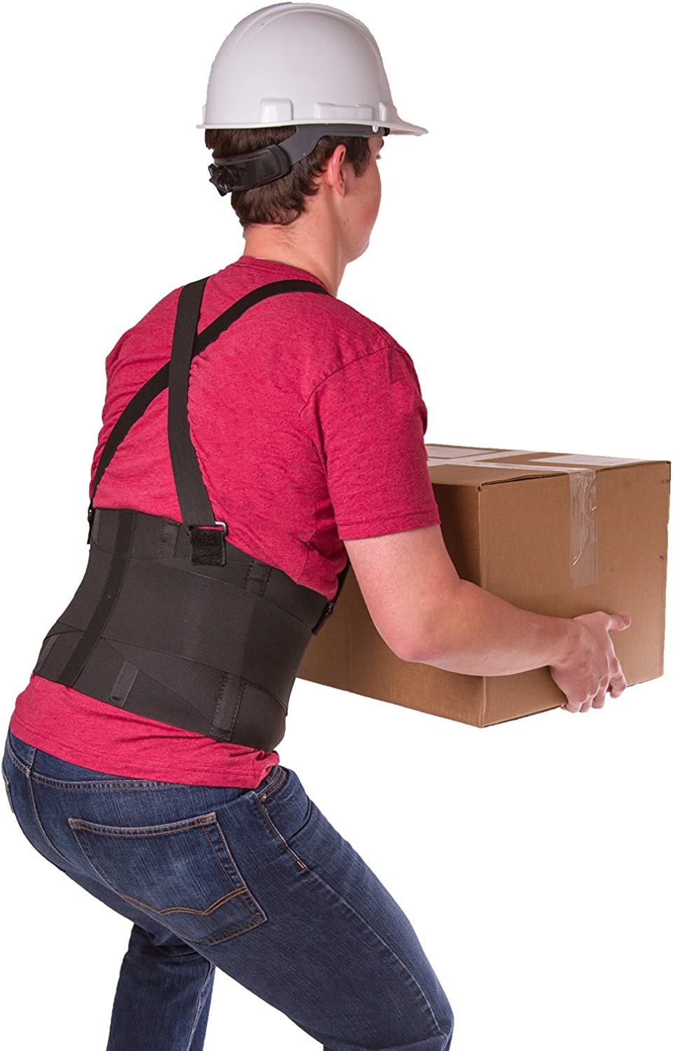BraceAbility Industrial Work Back Brace   Removable Suspender Straps for Heavy Lifting Safety  Lower Back Pain Predection Belt for Men & Women in Construction, Moving and Warehouse Jobs (Medium)