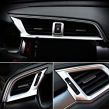 Rqing For Honda Civic 10th 2016 2017 2018 2019 Interior Front Center Air Condition Vent Outlet Cover Trims (Silver Paint)