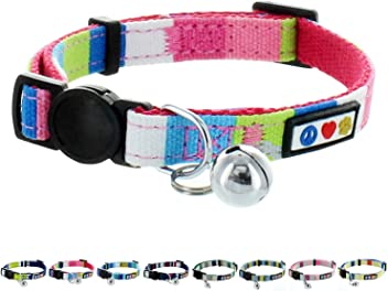 Pawtitas Pet Glow In The Dark Cat Collar With Safety Buckle And Removable Bell Pink//Collier luminescent Pet pour chat Rose