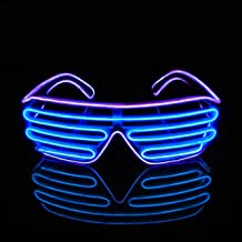Aquat Shutter El Wire Neon Rave Glasses Light Up Flashing LED Sunglasses Voice Activated Costumes for Party, 80s, EDM (Purple/Blue, Black Frame)