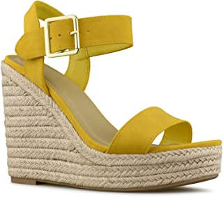 4b29dd5d82 Premier Standard Women's Peep Toe Ankle Strap Buckle Espadrille Wedge  Sandals