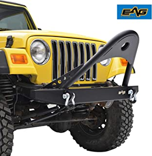 EAG Black Textured Off Road Stinger Front Bumper with 2 D-Ring Fit for 87-06 Jeep Wrangler TJ YJ