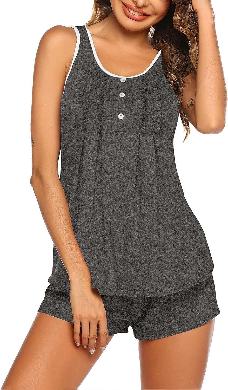 MAXMODA Womens Pajamas Set Sleeveless Ruffle Tank Top and Shorts Nightwear Sleepwear Pjs Sets