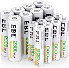 EBL 16PCS Kit AA et AAA Piles Rechargeables avec 8X AA 2300mAh et 8X AAA 800mAh 1,2V