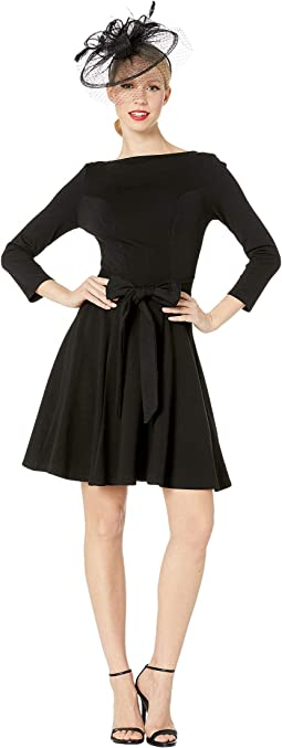 Knit Tie Waist Bettie Fit & Flare Dress