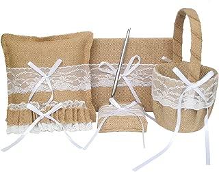 ARKSU 5pcs Wedding Sets Flower Girl Basket + Ring Bearer Pillow + Guest Book with Pen + Pen Set Holder + Bride Garter for Rustic Bridal Wedding Shower Ceremony Anniversary