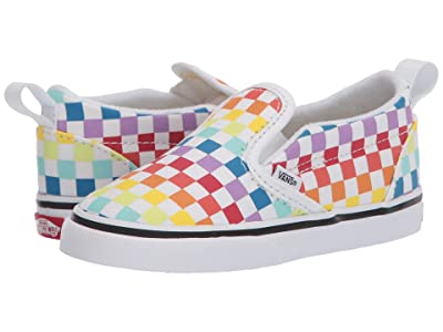 Vans Kids Slip-On V (Infant/Toddler) ((Checkerboard) Rainbow/True White) Girls Shoes