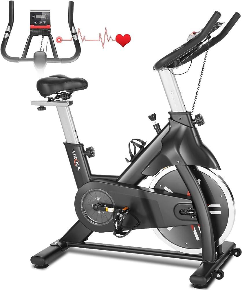 Heka, cyclette per casa professionale, resistenza regolabile con schermo lcd e cardio