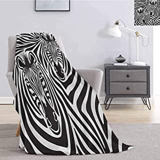 jecycleus Safari Luxury Special Grade Blanket Couple of Zebras Eyes Face Heads Image Pattern Artistic Wild Animals Design Multi-Purpose use for Sofas etc. W91 by L60 Inch Charcoal Grey White