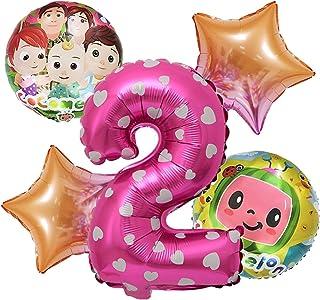مجموعة بالونات كوكو كرتونية بطيخ مكونة من 5 قطع لتزيين حفلات استقبال المولود ، بالون من الألومنيوم ، عدد بالونات (اللون: و...