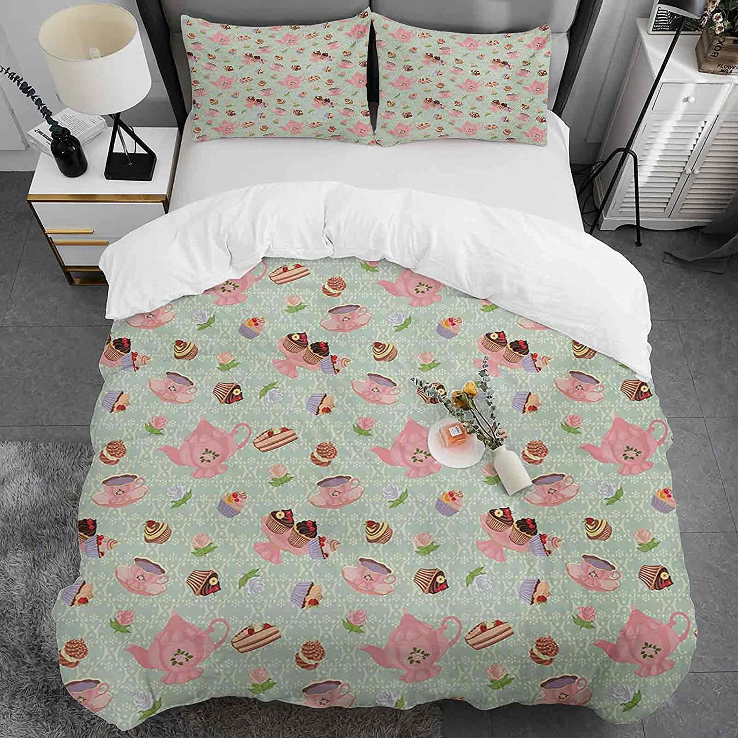 3 Piece Duvet Cover Queen Size Year-end gift Washed Microf Pattern Max 65% OFF 100% Retro