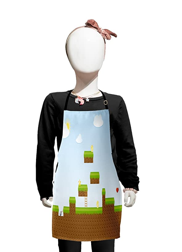 Lunarable Boy's Room Kids Apron, Digital Cartoon Pixel Landscape Retro Arcade Gaming Theme Climb Run, Boys Girls Apron Bib with Adjustable Ties for Cooking Baking and Painting, Pale Blue Green Brown