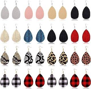 PHALIN Leather Earrings Lightweight Faux Leather Tartan Plaid Leopard Teardrop Dangle Earrings Set Handmade Braid Animal P...