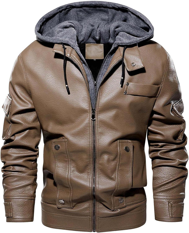 Men's PU Faux Leather Jackets Full Zipper Hooded Motorcycle Bomber Jacket Thicken Thermal Windbreaker Biker Coats