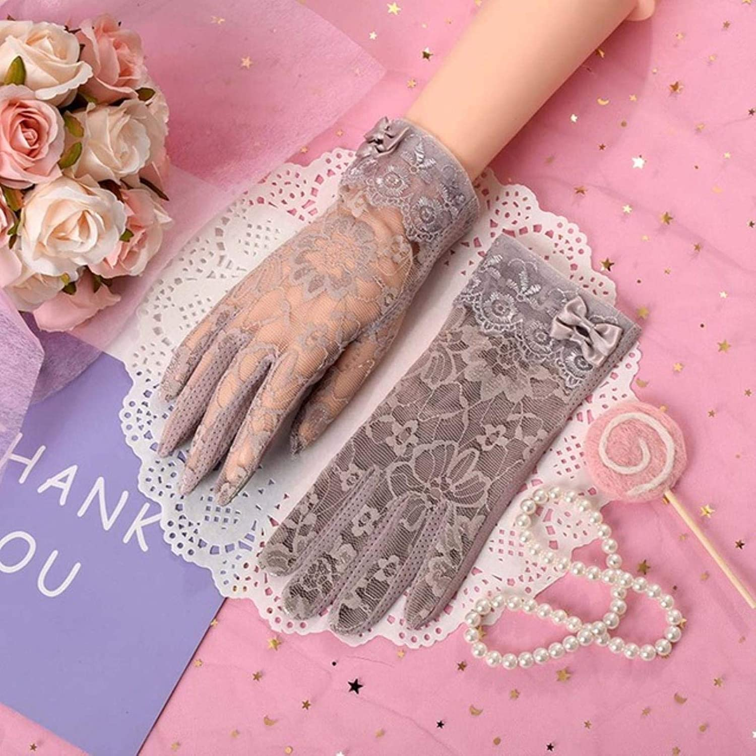 Fashion Women Gloves Spring Summer Ladies Non-slip Lace Finger Gloves Outdoor Touch Screen Sunscreen Gloves