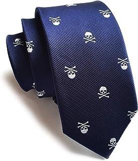 Men's Skinny Novelty Ties Repp Skull Design Jacquard Woven Casual Halloween Necktie