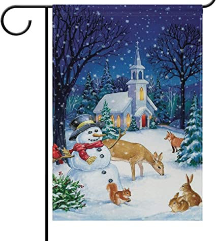 Amazon Com Wamika Winter House Flag 28 X 40 Double Sided Snow Forest Snowman Rabbit Deer Fox Animals Welcome Holiday Yard Outdoor Garden Flags Banner Party Home Decor Christmas Decorations Garden Outdoor